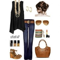 tank outfit, outfits with bell bottoms, bell bottom jeans outfit, black tank and jeans, blacktankoutfit outfitidea