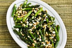 Kalyns Kitchen®: Recipe for Sauteed Asparagus with Melted Gorgonzola and Pine Nuts  [#SouthBeachDiet friendly from Kalyn's Kitchen]