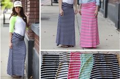Total Statement Maker - Stripe Jersey Maxi Skirt #maxiskirt pickyourplum.com