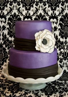 purple black and white weddding