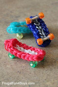 How to make a Rainbow Loom skateboard charm - the post has a video tutorial