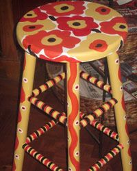 whimsical stool painted with poppies!