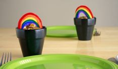 st patricks day pot of gold, paint pots, fill with candy, bend pipe cleaners (or rainbow airhead candy strips)