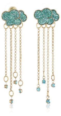 Amazon.com: Betsey Johnson Walk in the Park Cloud Multi-Chain Linear Drop Earrings: Jewelry