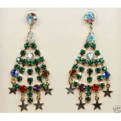 Christmas Tree Chandelier Pierced Earrings