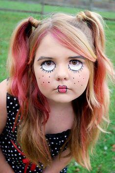 costume ideas, paint face, face paint halloween, facepaint, doll face, scary doll costume, painting faces, kid, face painting halloween