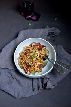Cozy up to a bowl of these savory Garlic-Mushroom Noodles.