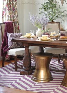 I used layers of plum and warm metallics in this rustic & refining dining room makeover #worldmarketmakeover