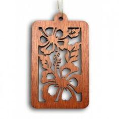 Laser Cut Wood Ornament Hibiscus