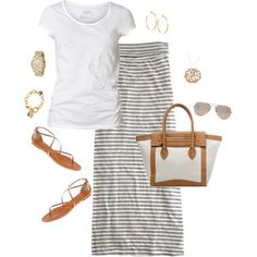 simple maxi, tan flats, big tote, sunglasses, bangles, white t-shirt tee - love