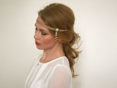 Bronze and Pearl 1920 Headband  - Gold Bronze Pearl 1920 Great Gatsby Headband with Bead Dangle by { Miss S-a Headbands }