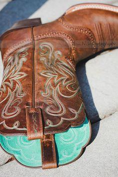 Tiffany blue cowboy boots.