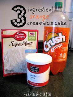 3 Ingredient Orange Creamsicle Cake.