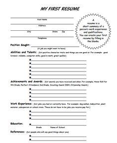 career kids resume career kids my first resume