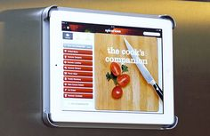 Mount your iPad to your fridge for easy reach to all of your recipes while cooking! #cooking #kitchen #ipad