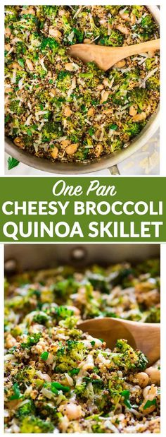 One Pan Cheesy Broccoli Quinoa Skillet with Parmesan and White Beans. An easy and filling vegetarian recipe that's great for quick dinners and healthy meal prep lunches. #vegetarian #glutenfree #healthy