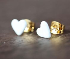 Tiny White Heart Studs  by Diament Designs