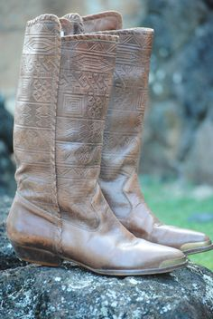 Vintage AZTEC tooled leather boots