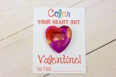 DIY Heart Crayon Valentine - Comes with free printable!