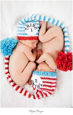 Thing 1 and Thing 2 SET (2 hats)  Newborn Baby  Stocking Hat     Great Photo Prop. $55.00, via Etsy.
