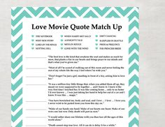 ... love quotes game, kitchen tea games, shower idea, bridal shower games