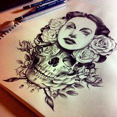 Awesome tattoo design. #tattoo #tattoos #ink tattoo ideas, artists, sketch, artworks, skull tattoos, a tattoo, beauty, tattoo ink, design