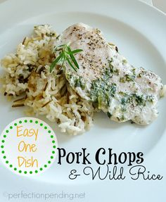 Easy One Dish Pork Chops and Wild Rice Recipe. 5 minutes of prep, an hour in the oven and only 5 ingredients!! Kid approved. #recipes #easyrecipe #onedishrecipe