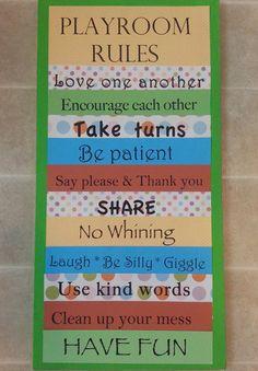 Custom Playroom Rules Canvas