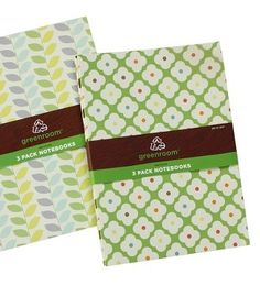 Product: Notebooks  Company: Target  -Buy notebooks from recycled material! Eco-friendly! Reusing and recycling! Thinking green, so awesome! #greendorm