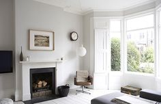 white + black fireplace
