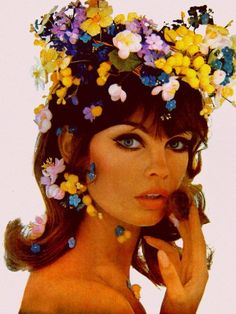 Jean Shrimpton wears a garden of Earthly delights.