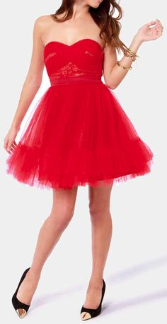 red tulle dress