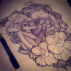 This is definitely the coolest skull/skeleton tattoo I have ever seen Tattoo Ideas, Halloween Parties, Thigh Tattoos, Frame, Bride And Groom Skull Tattoo, Tattoo Sketches, Skull Tattoos, Tattoo Design, Death Tattoo