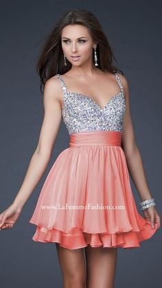 La Femme 16813 | La Femme Fashion 2013 - La Femme Prom Dresses -Cute short, fully embellished top with layered chiffon skirt. Great after prom party dress.