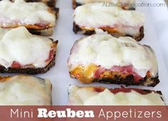 Mini Reuben Appetizers - perfect for New Year's Eve!  by ALittleClaireification.com #Recipes #Appetizers #NewYears #Superbowl