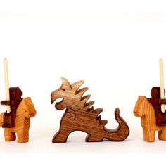 Wooden knight and dragon playset