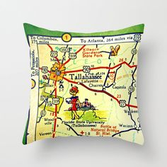 Tallahassee Map Pillow