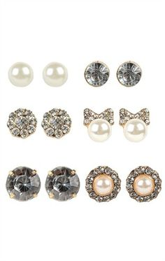 Deb Shops Set of Six #Earring Pairs with #Pearls, #Flowers, and Stone Studs $6.37