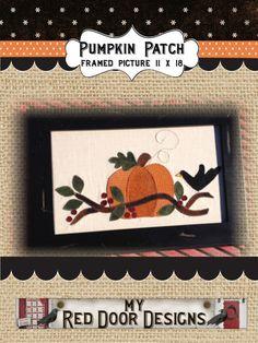 Pumpkin Patch wool applique kit and pattern by myreddoordesigns, $28.95