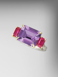 Paolo Costagli 18kt Gold Amethyst and Ruby Florentine Ring