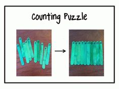 Make a counting puzzle with popsicle sticks! So simple to make!