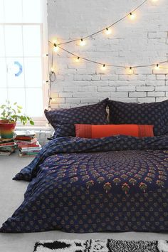 Magical Thinking Meadow Paisley Medallion Duvet Cover bed sets, bedroom walls, string lights, room lights, exposed brick