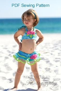 Bikini Sewing Pattern PDF - Tutu Cute - Swim Suit Pattern - Babies, Toddlers, and Girls. $9.50, via Etsy.