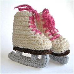 Crocheted Ice Skates - Would make lovely Christmas ornaments