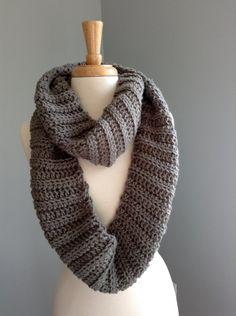 Gray crochet infinity scarf...