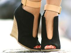Black and nude wedges.