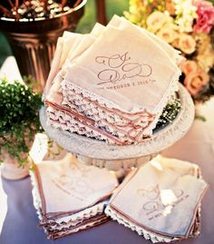 Tea-stained hankies for vintage wedding