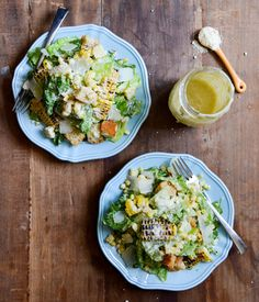 roasted corn caesar salads with parmesan greek yogurt caesar dressing - howsweeteats.com