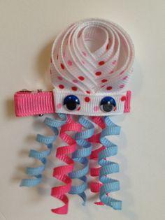 Jellyfish Ribbon Sculpture Hair Clip by www.facebook.com/babybugwear