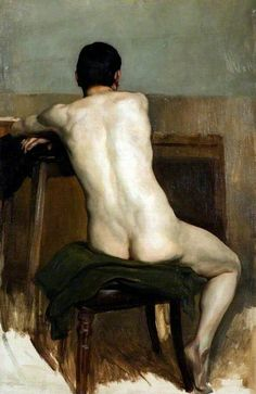 Brian Hatton (English, 1887-1916), Seated Nude, 1906. Oil on canvas laid on board. Hereford Museum